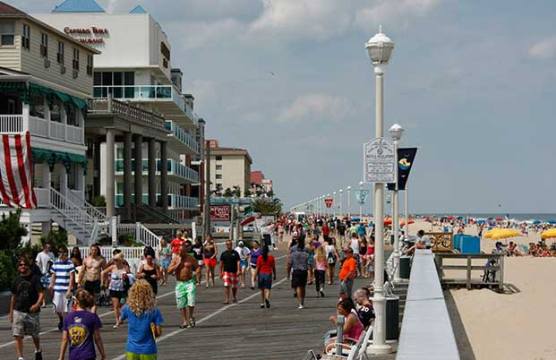 People walking on the boardwalk